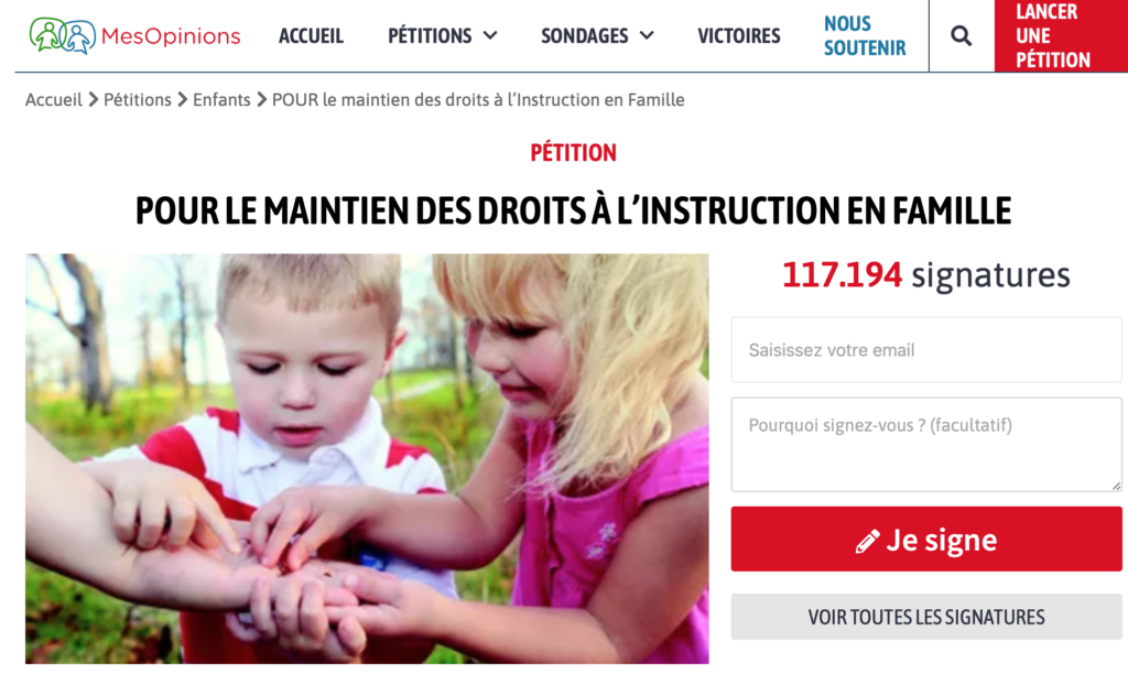Nos associations et collectifs sont à l'initiative d'une pétition nationale :  https://www.mesopinions.com/petition/enfants/maintien-droits-instruction-famille/107871